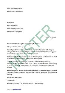 Abmahnung Für Unentschuldigtes Fehlen Arbeitsrecht 2019