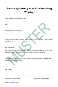 Muster: Änderungsvertrag zum Arbeitsvertrag