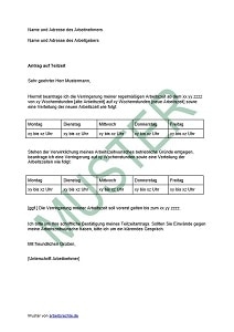 antrag auf teilzeit als vorlage - Anderung Arbeitsvertrag Muster