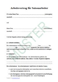 Arbeitsvertrag Für Saisonarbeiter Arbeitsrecht 2019