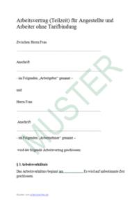 arbeitsvertrag teilzeit muster - Anderungsvertrag Muster