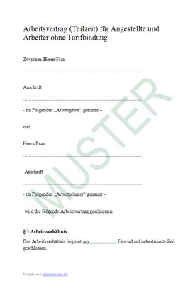 Muster: Arbeitsvertrag Teilzeit