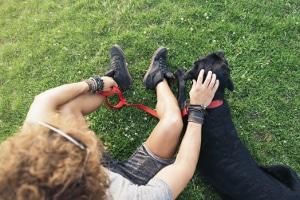 Mit dem Bürohund die Pause effektiv nutzen: Spazieren und Entspannen im Park.