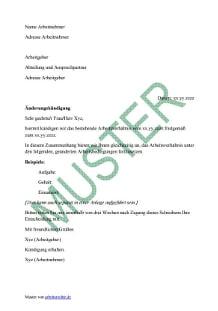 muster von einem kndigungsschreiben aenderungskuendigung vorschau - Anderung Arbeitsvertrag Muster