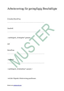 Muster: Arbeitsvertrag für einen Minijob