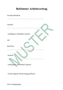 Befristeter Arbeitsvertrag Muster