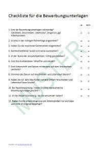 Checkliste für Bewerbungsunterlagen
