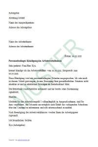 muster krankmeldung muster personenbedingte kndigung - Kundigung 450 Euro Job Muster