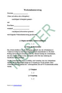Muster: Werkstudentenvertrag